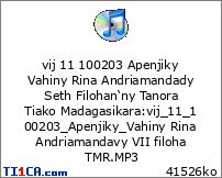 vij 11 100203 Apenjiky Vahiny Rina Andriamandady Seth Filohan'ny Tanora Tiako Madagasikara