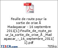 Feuille de route pour la sortie de crise à Madagascar - 16 septembre 2011[1]